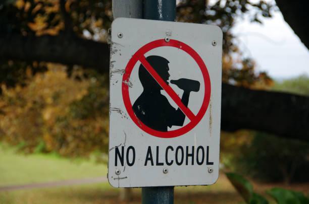 """Panneau """"no alcohol"""" dans la rue"""
