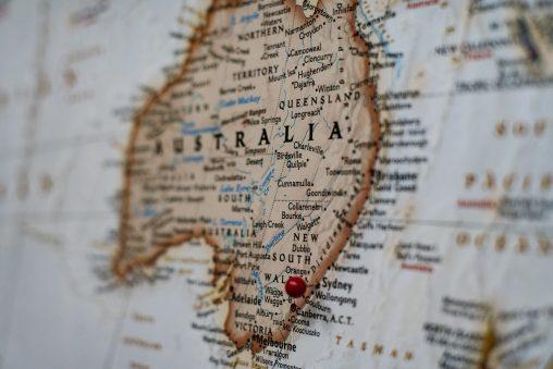 Carte de l'Australie avec épingle sur Sydney